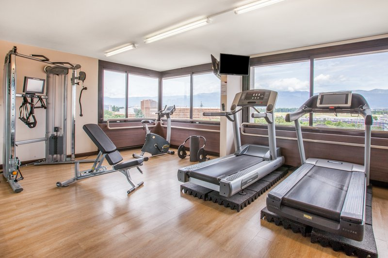 Crowne Plaza Geneva-Fitness centre with view over the mountains<br/>Image from Leonardo