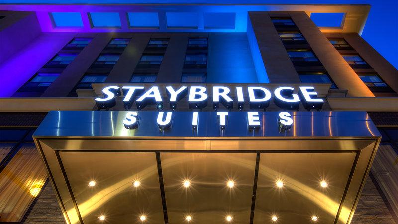 Staybridge Suites Hamilton - Downtown-Warmly lit up exterior<br/>Image from Leonardo