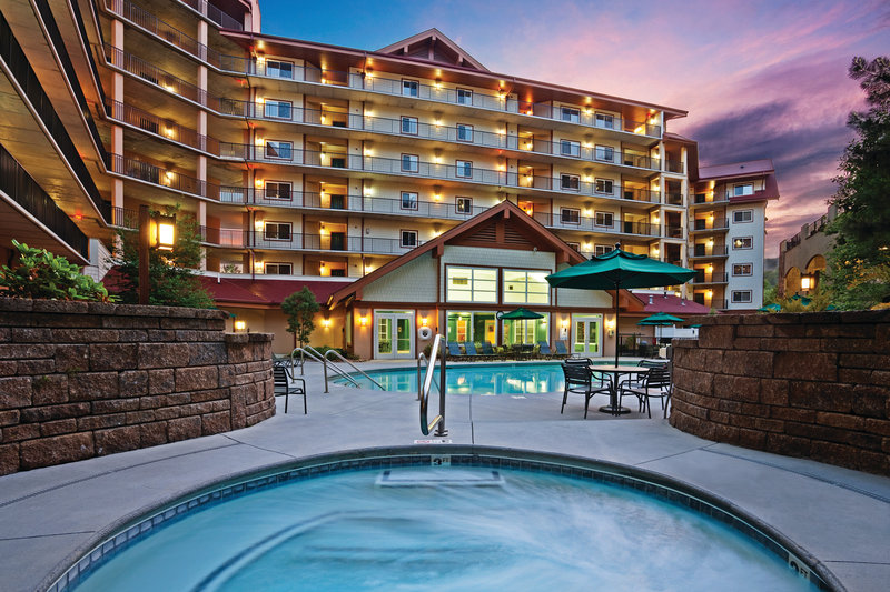 Holiday Inn Club Vacations Gatlinburg-Smoky Mountain Resort-Relax in the hot tub at sunset. <br/>Image from Leonardo