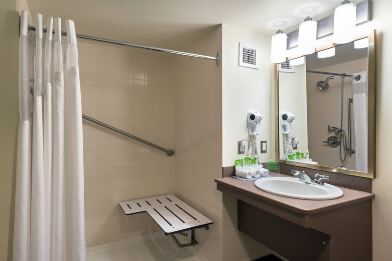 Holiday Inn Express Deer Lake-Accessible Guestroom with Roll-in Shower<br/>Image from Leonardo