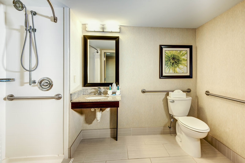 Holiday Inn Express Neptune-Accessible King Room Bathroom with Roll-In Shower<br/>Image from Leonardo
