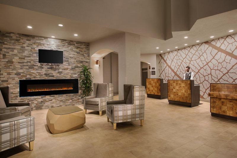 Crowne Plaza Portland - Lake Oswego-Lobby Fireplace & Front Desk<br/>Image from Leonardo