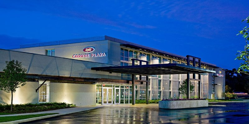 Crowne Plaza Lombard Downers Grove-Hotel Exterior at Night<br/>Image from Leonardo
