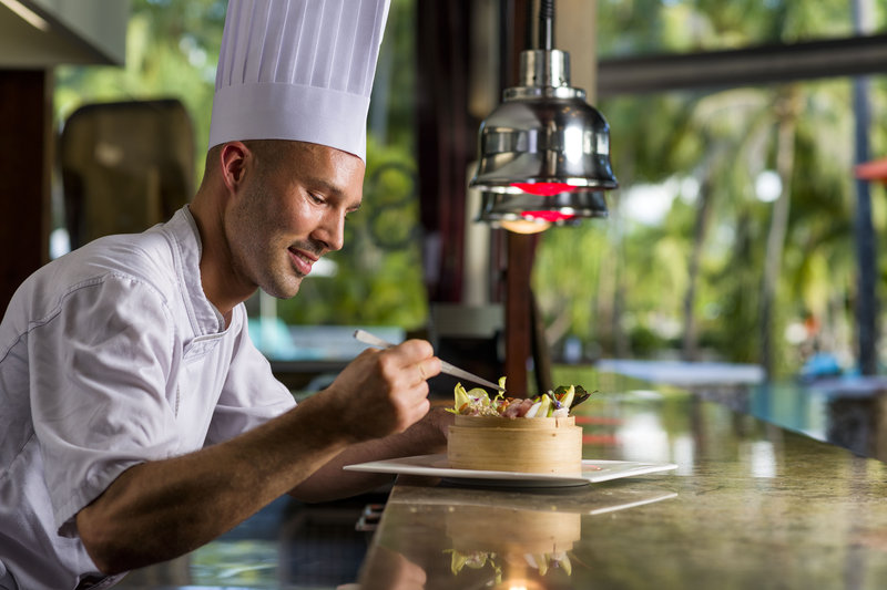 Intercontinental Bora Bora Resort-Our chef adding a finishing touch at the Sands restaurant<br/>Image from Leonardo