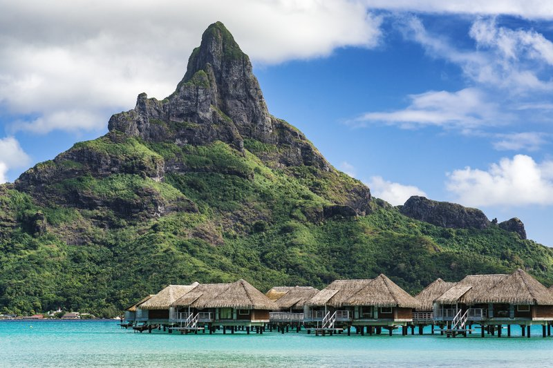 Intercontinental Bora Bora Resort-Overwater villas with Mt Otemanu in the background<br/>Image from Leonardo