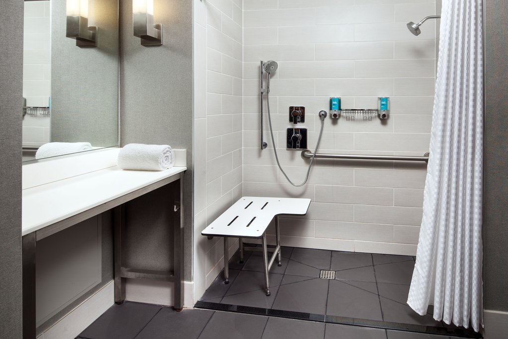 Aloft El Segundo - LAX Airport-Accessible Guest Bathroom - Roll-In Shower<br/>Image from Leonardo
