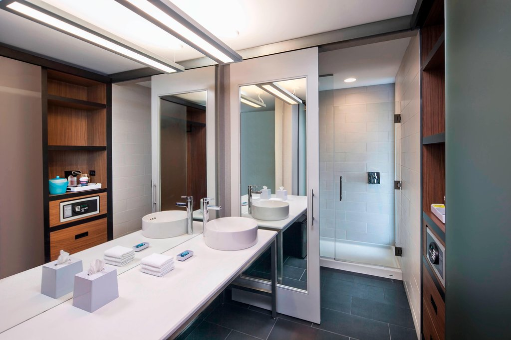 Aloft Syracuse Inner Harbor-Guest Bathroom<br/>Image from Leonardo