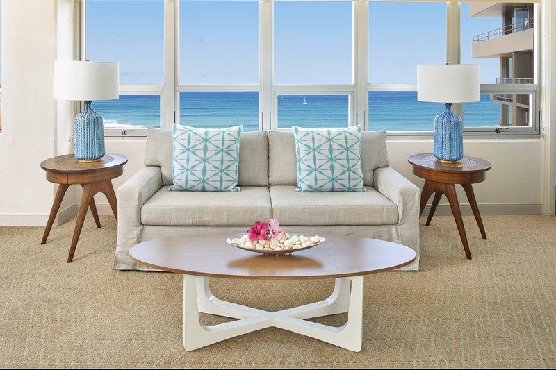 Queen Kapiolani Hotel - QKH Penthouse Ocean View Living Area <br/>Image from Leonardo