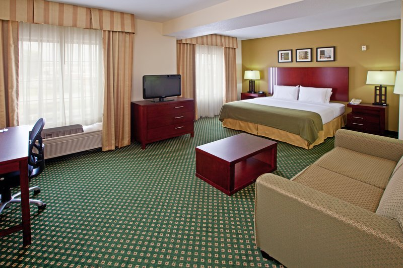 Holiday Inn Express & Suites Indianapolis - East-King Bed Guest Room with Pullout Sofa, Microwave and Refrigerator<br/>Image from Leonardo