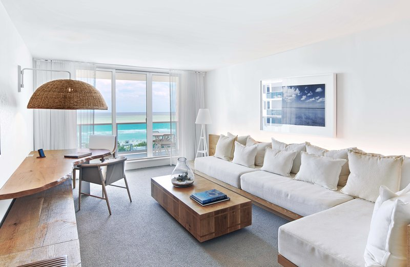 1 Hotel South Beach-Ocean Front 1-Bedroom Suite Balcony (OF1STB) living<br/>Image from Leonardo