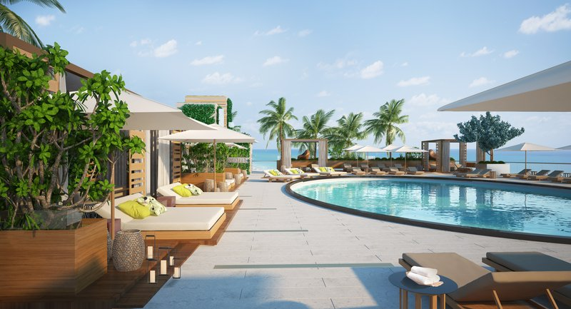 Nobu Hotel Miami Beach - Nobu Pool Render North View <br/>Image from Leonardo