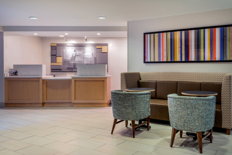 Holiday Inn Express Chapel Hill-Lounge in the lobby before taking our shuttle to Southpoint Mall!<br/>Image from Leonardo