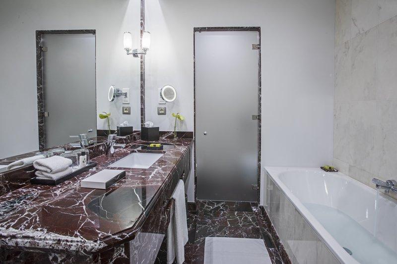 Intercontinental Porto - Palacio das Cardosas-The spacious bathroom offers shower and bath sink<br/>Image from Leonardo
