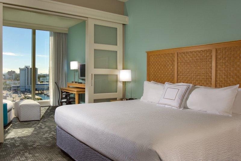 Courtyard by Marriott Fort Lauderdale Beach-King Suite Bedroom<br/>Image from Leonardo