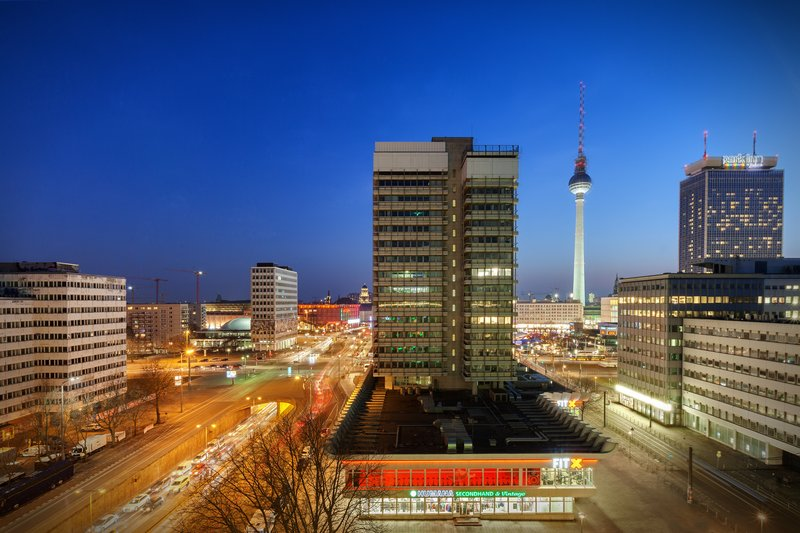 Holiday Inn Berlin Centre Alexanderplatz-Balcony views stretching over the rooftops to the iconic TV Tower.<br/>Image from Leonardo