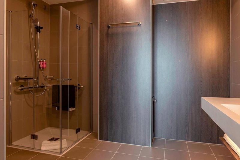 Moxy Milan Linate Airport-Moxy Accessible Bathroom<br/>Image from Leonardo