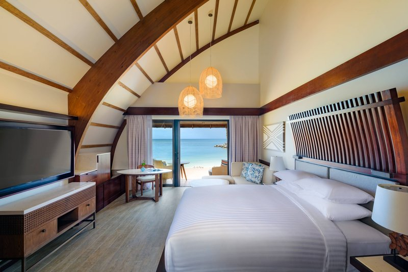 Fiji Marriott Resort Momi Bay-Duplex Ocean Front Bure Guest Room - Bedroom<br/>Image from Leonardo