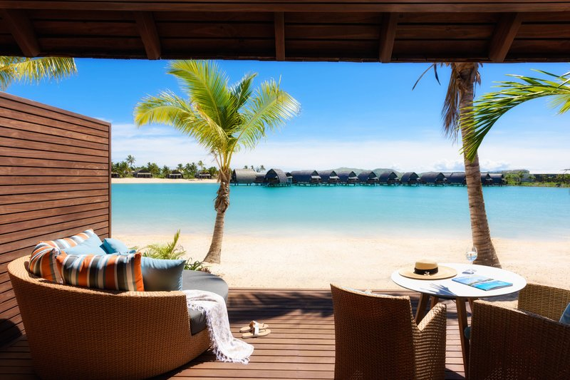 Fiji Marriott Resort Momi Bay-Duplex Lagoon Front Bure Guest Room - Deck<br/>Image from Leonardo