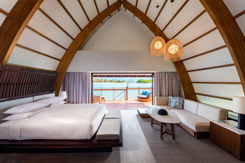 Fiji Marriott Resort Momi Bay-Over-Water Lagoon Bure Villa - Bedroom<br/>Image from Leonardo