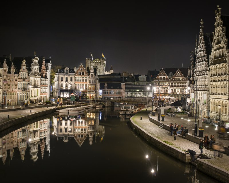 Holiday Inn Express Gent-Ghent Medieval Harbor by night (4km)<br/>Image from Leonardo