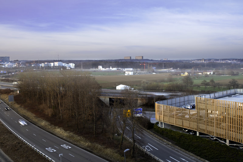 Holiday Inn Express Stuttgart Airport-View of the highways from the hotel's rooftop, in a business area.<br/>Image from Leonardo