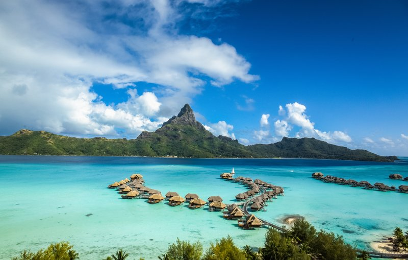 Intercontinental Bora Bora Resort-Aerial View of the left branch of the Overwater Villas<br/>Image from Leonardo