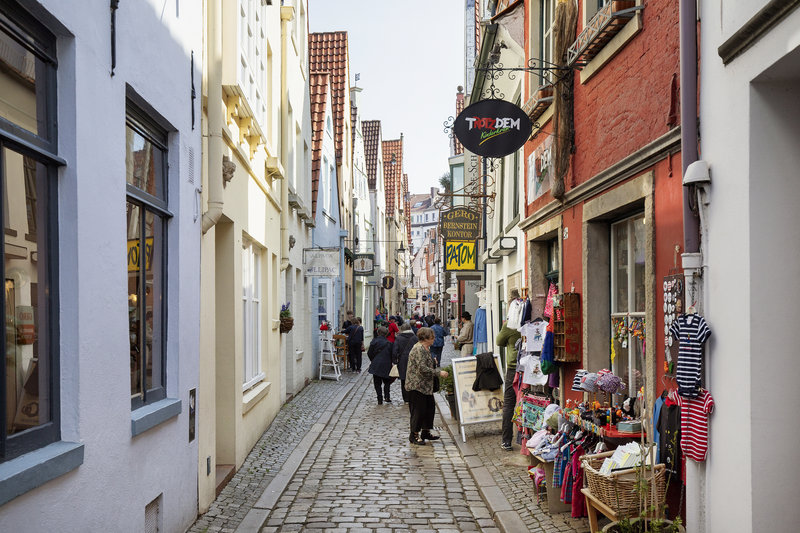 Holiday Inn Express Bremen Airport-Speciality shops open onto cobbled alleyways in the old town.<br/>Image from Leonardo