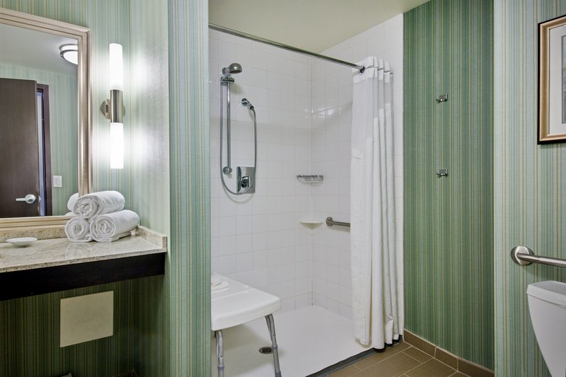 Holiday Inn Saskatoon Downtown-Wheelchair accessible Guest Bathroom with roll-in shower<br/>Image from Leonardo