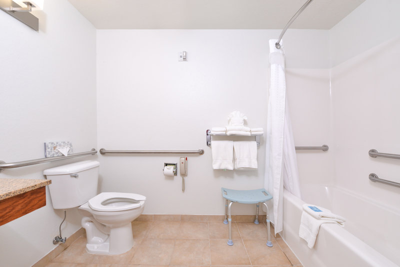 Holiday Inn Express & Suites Omaha West-Guest ADA Bathroom less than a mile from Shoppes of Legacy<br/>Image from Leonardo