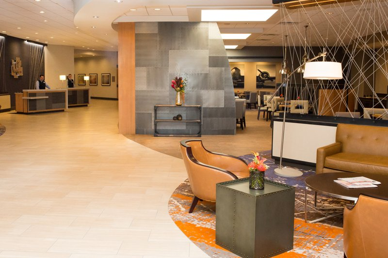 Holiday Inn Dayton/Fairborn I-675-Military decor welcomes you to an amazing open lobby. <br/>Image from Leonardo