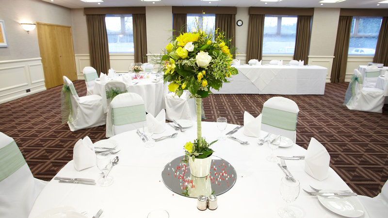 Holiday Inn Newcastle-Jesmond-Ridley Suite set for a wedding reception<br/>Image from Leonardo