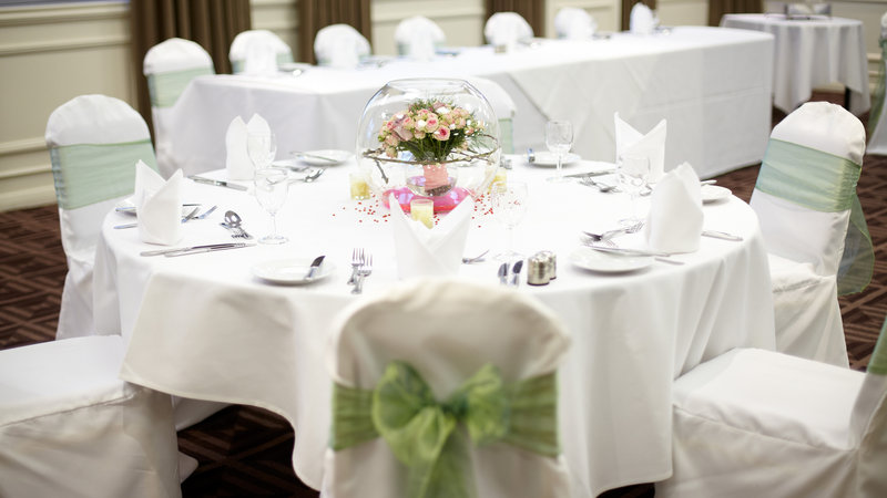 Holiday Inn Newcastle - Gosforth Park-Ridley Suite set for a wedding reception<br/>Image from Leonardo