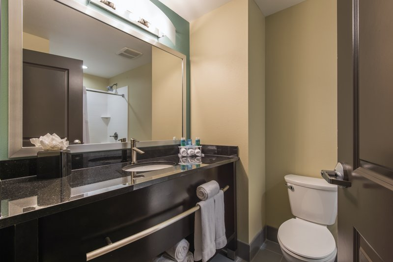 Holiday Inn Express & Suites Colorado Springs Central-Spacious guest bathroom.<br/>Image from Leonardo