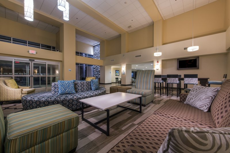 Holiday Inn Express & Suites Colorado Springs Central-Wait for your colleagues in our beautiful and modern lobby.<br/>Image from Leonardo