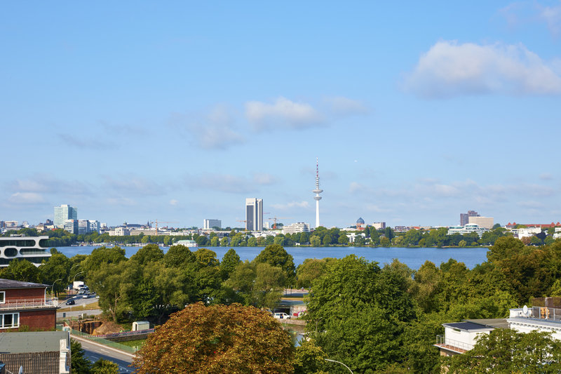 CROWNE PLAZA HAMBURG CITY ALSTER-Views from the hotel of its verdant surroundings and Alster Lake. <br/>Image from Leonardo