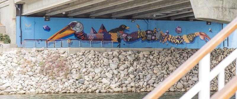 Holiday Inn Saskatoon Downtown-Artwork under the Senator Sid Buckwold Bridge<br/>Image from Leonardo