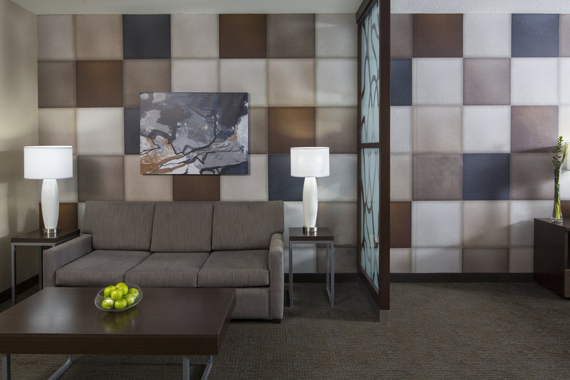 Holiday Inn Express & Suites Oklahoma City Downtown-Living area with sleeper sofa in our suites.<br/>Image from Leonardo