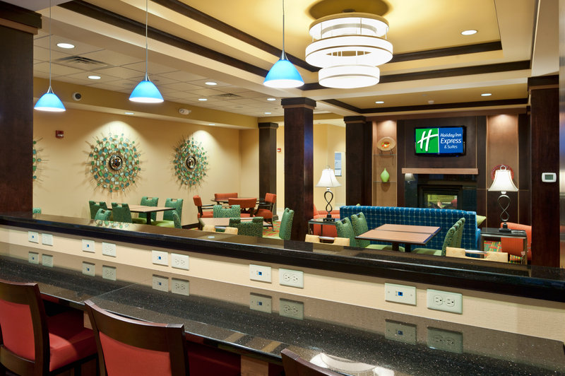Holiday Inn Express & Suites Dayton South - I-675-Bar seating for working through breakfast. <br/>Image from Leonardo