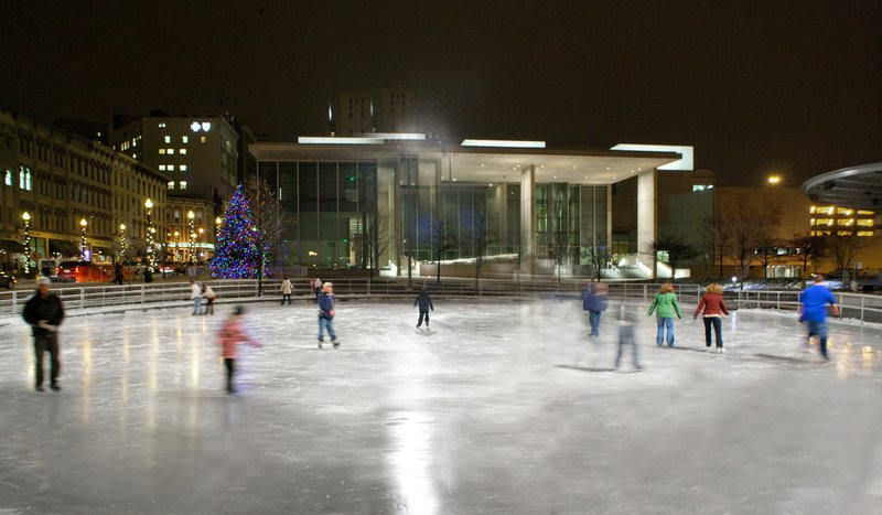 Holiday Inn Grand Rapids Downtown-Downtown visitors and residents enjoy skating in Rosa Parks Circle<br/>Image from Leonardo