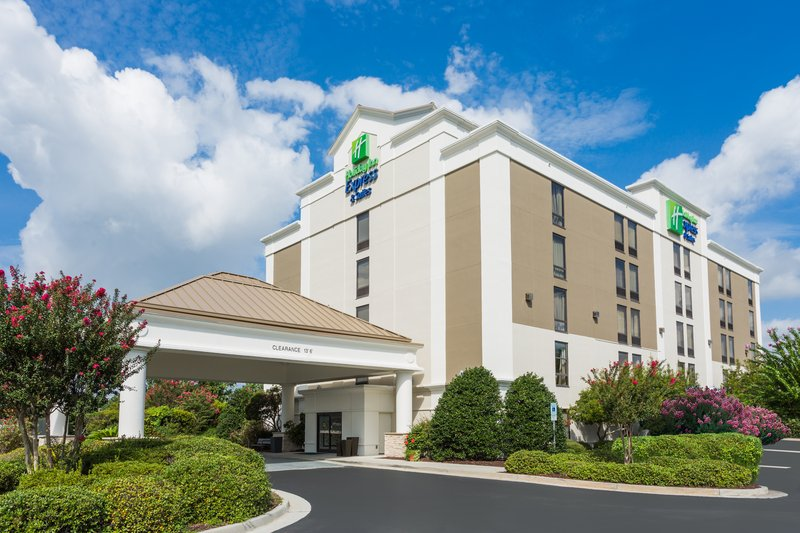 Holiday Inn Express Wilmington-Wilmington, NC hotel exterior being kissed by the sun.<br/>Image from Leonardo