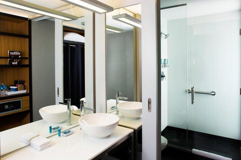 Aloft Cleveland Downtown-Guest Bathroom<br/>Image from Leonardo