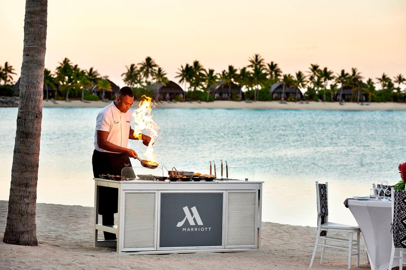 Fiji Marriott Resort Momi Bay-Vonu Beach - Live Station Banquet Setup<br/>Image from Leonardo