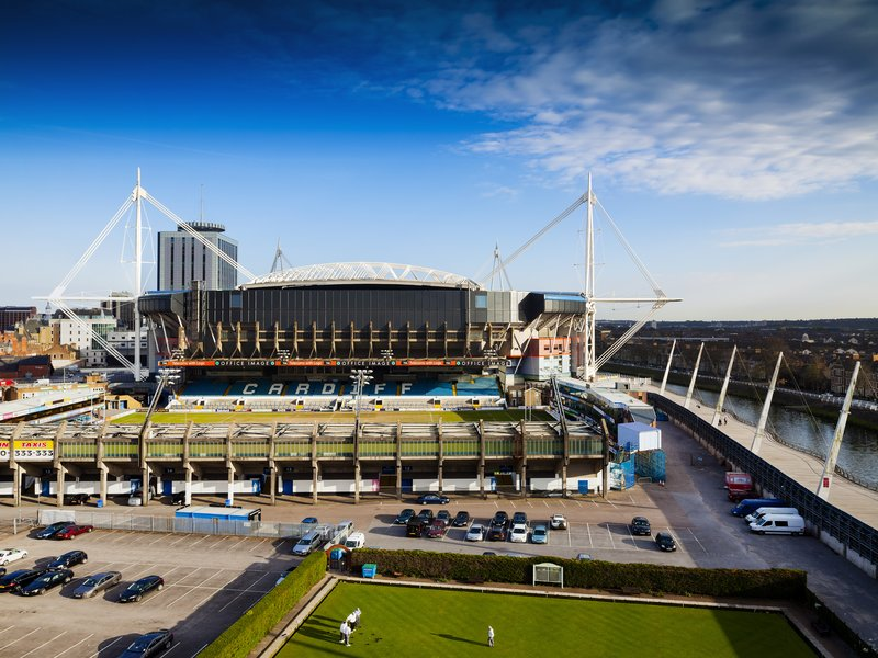 Holiday Inn Cardiff City Centre-View from hotel of Cardiff Arms Park<br/>Image from Leonardo
