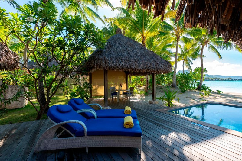 St Regis Resort Bora Bora - Exterior Beach Side Villa Guest Room <br/>Image from Leonardo