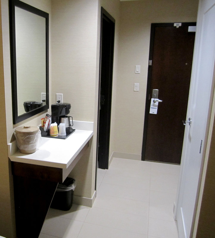 Holiday Inn Express Golden-Kicking Horse-Queen Bed Guest Room Entry<br/>Image from Leonardo