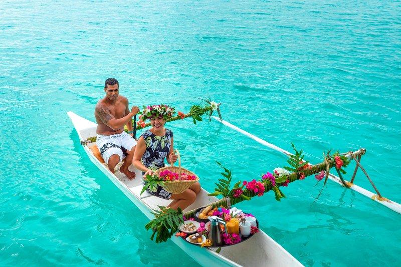 St Regis Resort Bora Bora - Canoe Breakfast <br/>Image from Leonardo