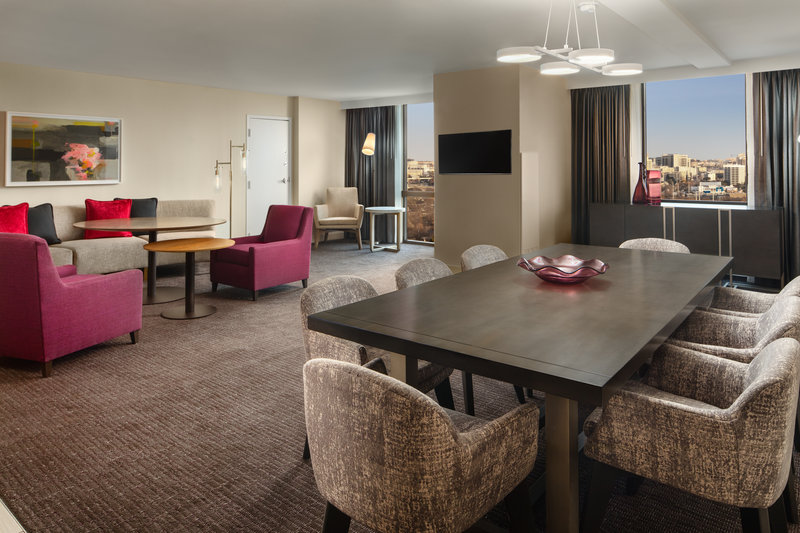 Crowne Plaza Dallas Market Center-Feel at home in our one-bedroom suites with separate living areas.<br/>Image from Leonardo