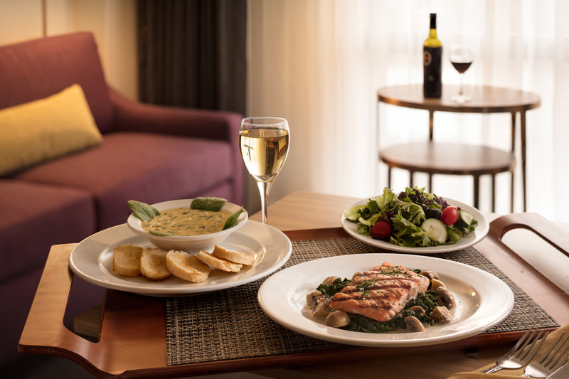 Crowne Plaza Dallas Market Center-In-room dining from Bristol Bar & Grill is available for guests.<br/>Image from Leonardo