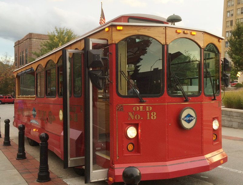 Crowne Plaza Resort Asheville-Take a ride around Downtown Asheville on the Grey Line Trolley!<br/>Image from Leonardo