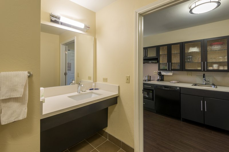 Candlewood Suites Midwest City-King Studio Suite kitchen and bathroom<br/>Image from Leonardo
